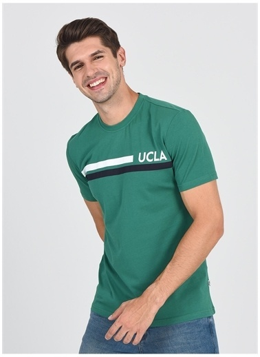 UCLA Ucla Aptos Bisiklet Yaka Baskılı Yeşil Erkek T-Shirt Yeşil